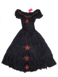 Vestido con bordado de flores Mod Negro