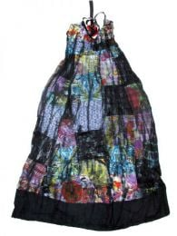 Vestido largo patchwork tirante Mod Negro