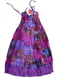 Vestido largo patchwork tirante Mod Morado