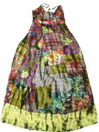 Vestido largo patchwork tirante Mod Verde