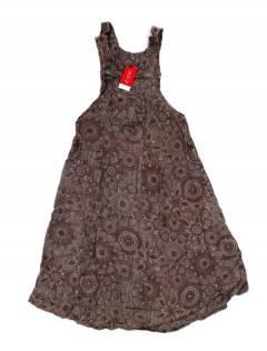 Monos Petos y Vestidos largos - Vestido Peto-Falda estampado VEEV15 - Modelo Marrón