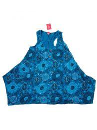 Vestidos Hippies y Etnicos - Vestido corto estampado con VEEV18 - Modelo Azul