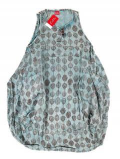Monos Petos y Vestidos largos - Vestido largo estampado VEEV20 - Modelo Azul