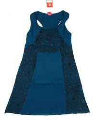 Vestido hippie de algodón Mod Azul