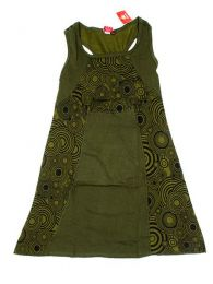 Vestido hippie de algodón Mod Verde