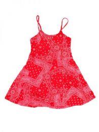 Vestido hippie,100% algodón Mod Rojo