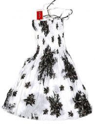 Vestidos Hippie Boho Étnico - Vestido blanco con estampado VESG01 - Modelo Negro
