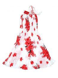 Vestidos Hippie Boho Étnico - Vestido blanco con estampado VESG01 - Modelo Rojo