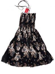 Vestido negro con estampado de flores VESG02 para comprar al por mayor o detalle  en la categoría de Outlet Hippie Étnico Alternativo.