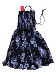 Vestidos Hippie Etnicos - Vestido negro con estampado VESG02 - Modelo Azul