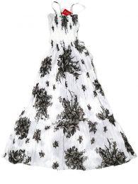 Vestidos Hippie Etnicos - Vestido largo con estampado VESG03 - Modelo Blanco-gris