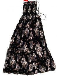 Vestidos Hippie Etnicos - Vestido largo con estampado VESG03 - Modelo Negro-marrón