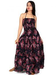 Vestidos Hippie Etnicos - Vestido largo con estampado VESG03.