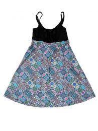 Vestidos Hippies Alternativos - Vestido hippie suelto estampado VESN20 - Modelo Azul