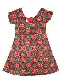 Vestidos Hippie Etnicos - Vestido hippie con estampado VESN28 - Modelo Rojo