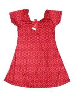 Vestidos Hippie Etnicos - Vestido hippie con estampado VESN30 - Modelo Rojo