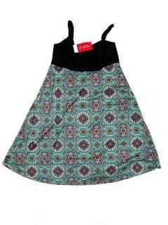 Vestidos Hippie Etnicos - Vestido hippie suelto estampado VESN34 - Modelo Azul