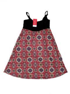 Vestidos Hippie Etnicos - Vestido hippie suelto estampado VESN34 - Modelo Rojo