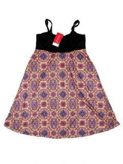 Vestidos Hippie Etnicos - Vestido hippie suelto estampado VESN34 - Modelo Amarillo