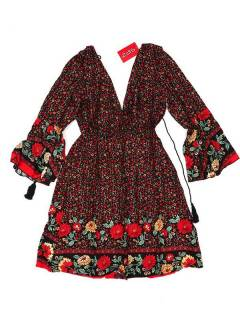 Ethnic Hippie Dresses - Loose hippie dress with VESN40 - Red Model