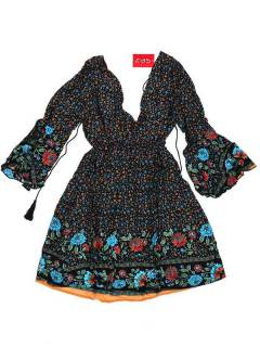 Ethnic Hippie Dresses - Loose hippie dress with VESN40 - Black Model