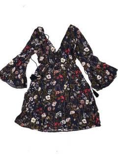 Vestido de rayón con estampados de flores VESN41 para comprar al por mayor o detalle  en la categoría de Artículos Artesanales.