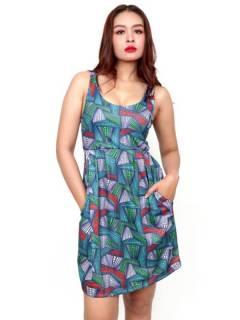 Vestido de tirantes con estampado Etnico,  para comprar al por mayor o detalle  en la categoría de Ropa Hippie de Mujer | ZAS Tienda Alternativa. [VESN43]