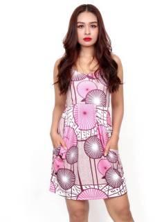 Vestido de tirantes con estampado Etnico,  para comprar al por mayor o detalle  en la categoría de Ropa Hippie de Mujer | ZAS Tienda Alternativa. [VESN44]
