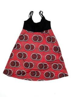 Vestidos Hippie y Alternativos - Vestido hippie suelto estampado VESN45 - Modelo Rojo