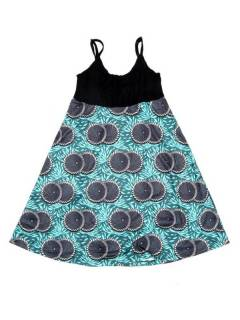 Vestidos Hippie y Alternativos - Vestido hippie suelto estampado VESN45 - Modelo Azul