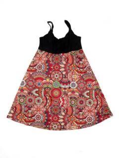 Vestidos Hippie y Alternativos - Vestido hippie suelto estampado VESN46 - Modelo Rojo