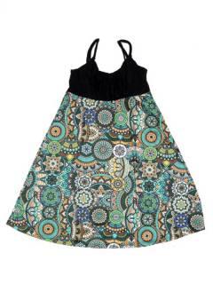 Vestidos Hippie y Alternativos - Vestido hippie suelto estampado VESN46 - Modelo Verde