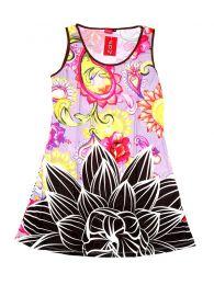 Vestidos Hippies y Etnicos - Vestido de tirantes con estampado VEUN101 - Modelo Rosa