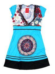 Vestidos Hippies Boho Étnicos - Vestido hippie con detalles VEUN104 - Modelo Azul