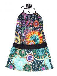 Vestidos Hippie Boho Alternativos - Vestido de tirantes con estampado VEUN108.