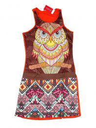 Vestidos Hippies Ethnic Boho - Vestido de tirantes con buho VEUN111.