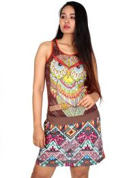Vestido Buho étnico estampado VEUN111 para comprar al por mayor o detalle  en la categoría de Ropa Hippie Alternativa para Mujer.