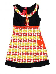 Vestidos Hippie Ethnic Boho - Vestido de tirante ancho con VEUN112 - Modelo Negro ro