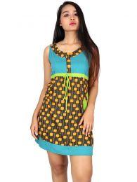 Vestidos Hippie Ethnic Boho - Vestido de tirante ancho con VEUN112.