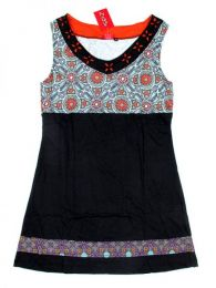 Outlet Ropa Hippie - Vestido detalles estampados VEUN74 - Modelo Negro