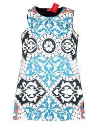 Vestidos Hippie Ethnic Boho - Vestido estampados étnico VEUN85 - Modelo Azul