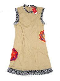 Vestidos Hippie Ethnic Boho - Vestido con detalles étnicos VEUN90 - Modelo Beige