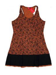 Vestidos Hippies Ethnic Boho - Vestido de tirantes estampado VEUN94 - Modelo Marron