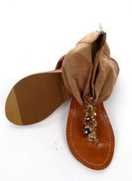 Sandalia con piedras natuirales y talón en material con cremallera, ZDE06 para comprar al por mayor o detalle  en la categoría de Outlet Hippie Etnico Alternativo | ZAS Tienda Hippie.
