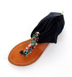 Sandalia con piedras natuirales Mod Negro