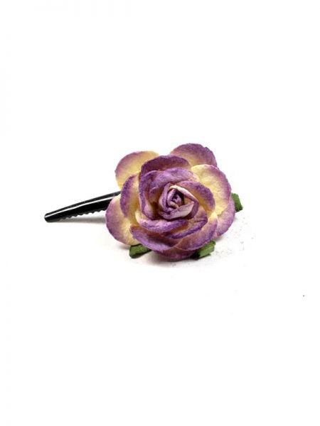 Pinza para el pelo con flor realizada con pasta de papel y decoradas Comprar - Venta Mayorista y detalle