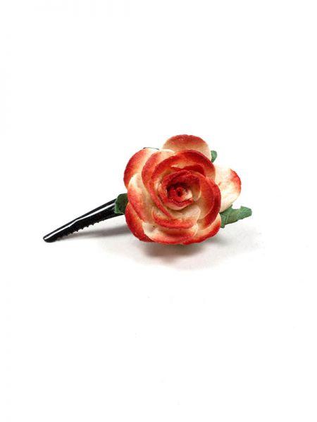 Cintas para el pelo - Pinza con flor de pasta de papel [PZFLP02] para comprar al por mayor o detalle  en la categoría de Complementos Hippies Alternativos.