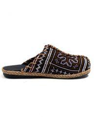 Sandalias Zapatos Zuecos - zueco abierto étnico ZNN08 - Modelo Negro