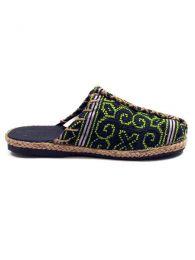 Sandalias Zapatos Zuecos - zueco abierto étnico ZNN08 - Modelo Verde 15
