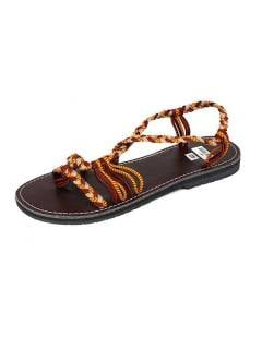 Sandal with brown cotton strips .. Sandals and Clogs to buy wholesale or detail in the category of Hippie Footwear for Men and Women | ZAS Hippie Store. [ZSC11]